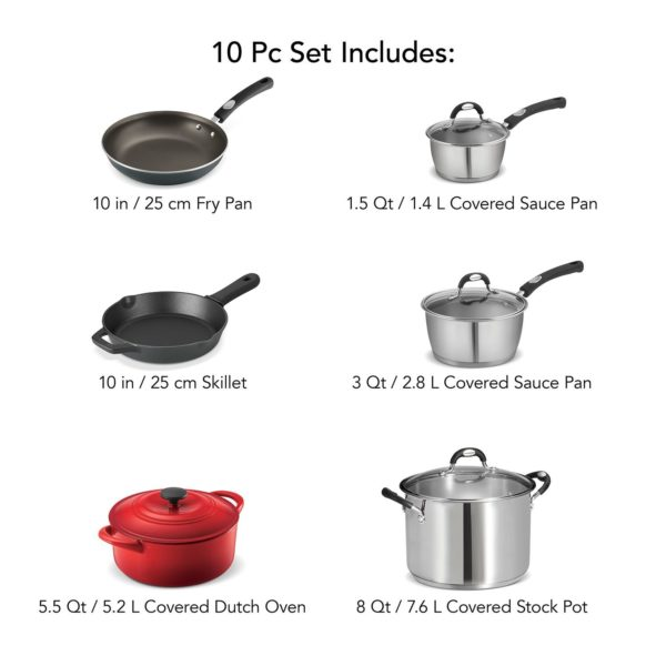Incredible Tramontina 10 Piece Kitchen Essentials Multi Material Cookware Set Home Remodeling Inspirations Genioncuboardxyz